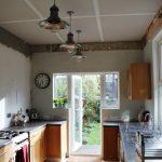 Progress Report:  Plastering the Kitchen