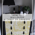 Before and After:  Wallpapered Chest of Drawers