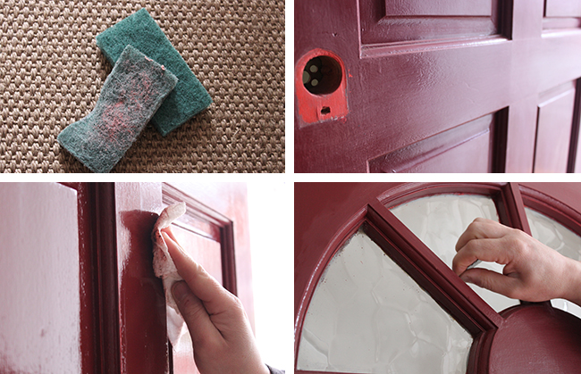 The process of re-painting my front door with Farrow & Ball Hague Blue.