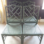 For Sale:  Four Chinoiserie Chippendale Faux Bamboo Chairs