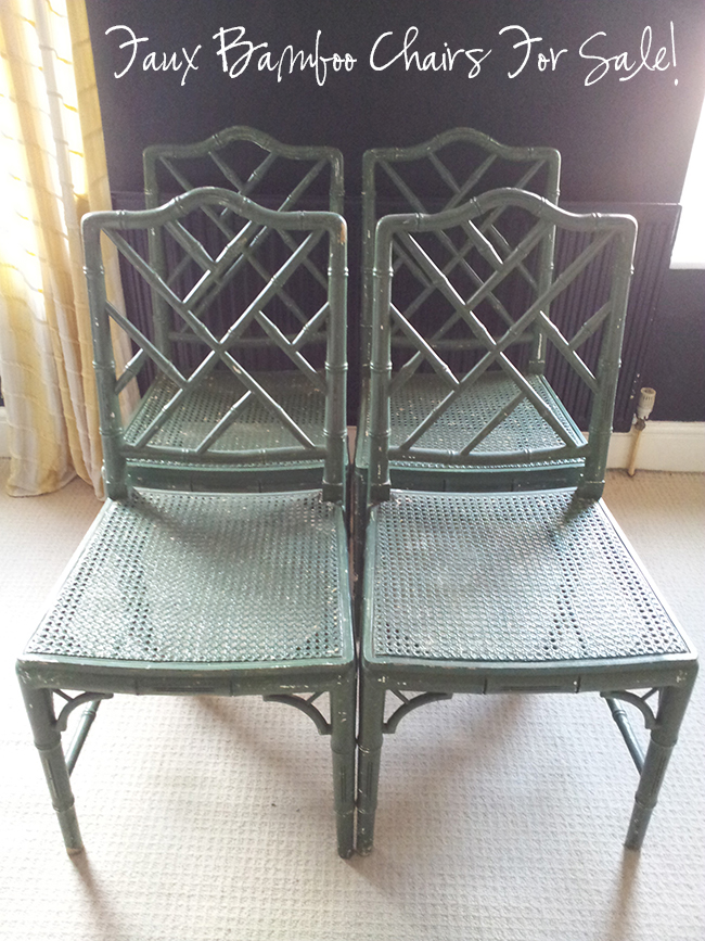 For Sale Four Chinoiserie Chippendale Faux Bamboo Chairs