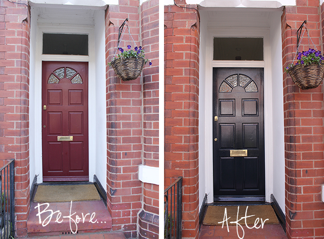 Take a look at my front door before and find out why I chose Farrow & Hall Hague Blue!