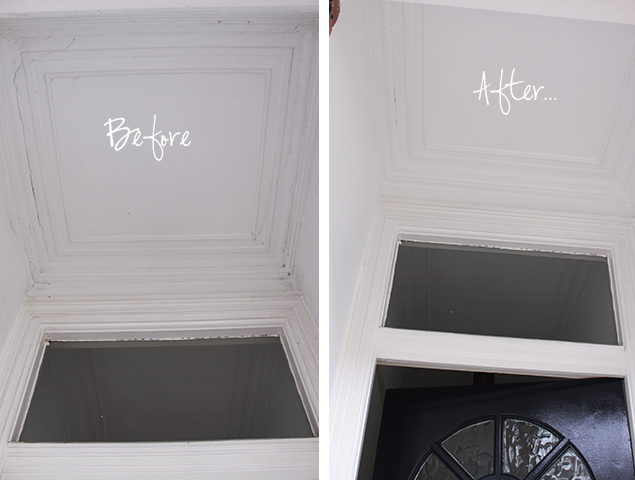 A before and after of the process of painting my front door in Farrow & Hall Hague Blue.