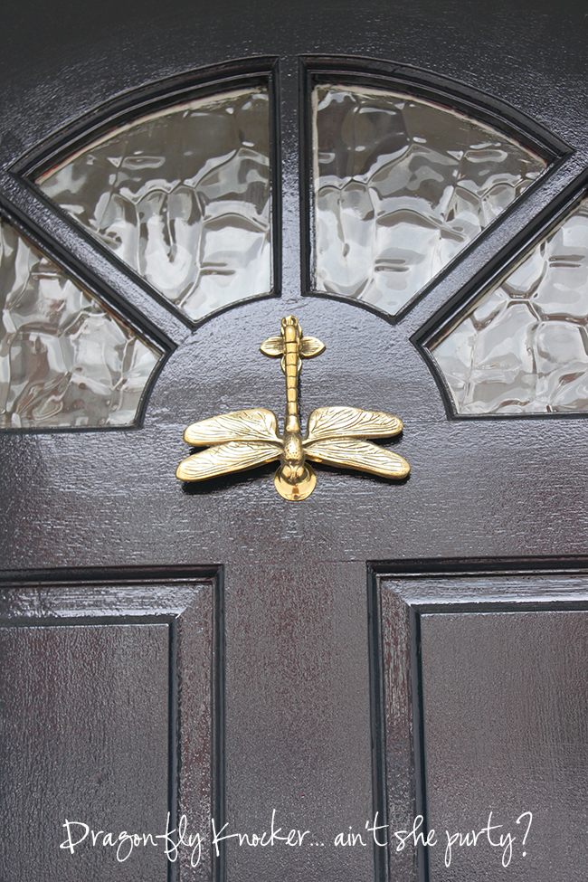 Front of house front door gets it 39 s final trimmings swoon worthy - Dragonfly door knocker ...
