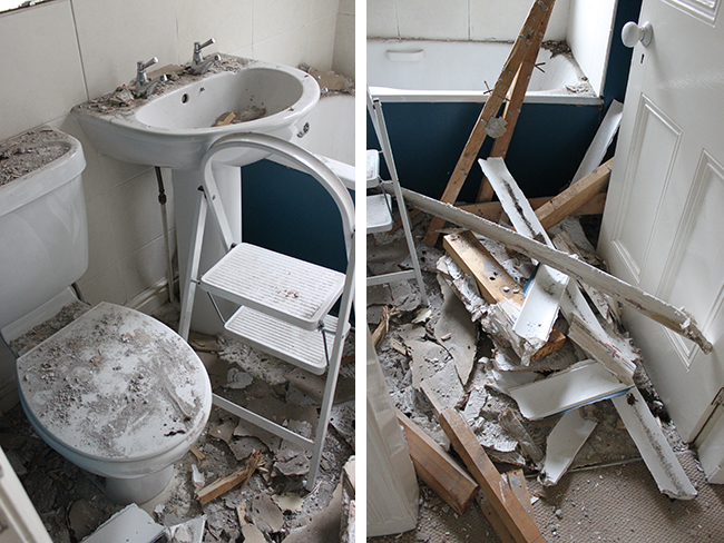 Removing the false ceiling in our bathroom was a messy process!