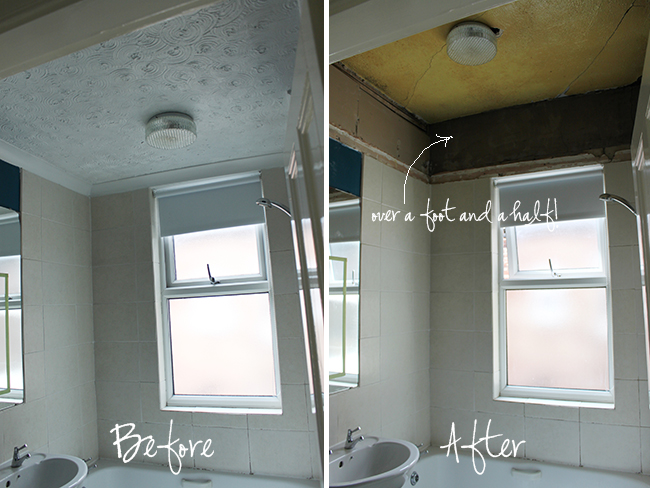 Operation Bathroom Remodel Removing A False Ceiling