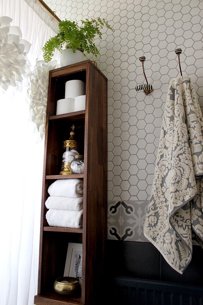 We chose to add hex tiles to our bathroom remodel which adds real interest
