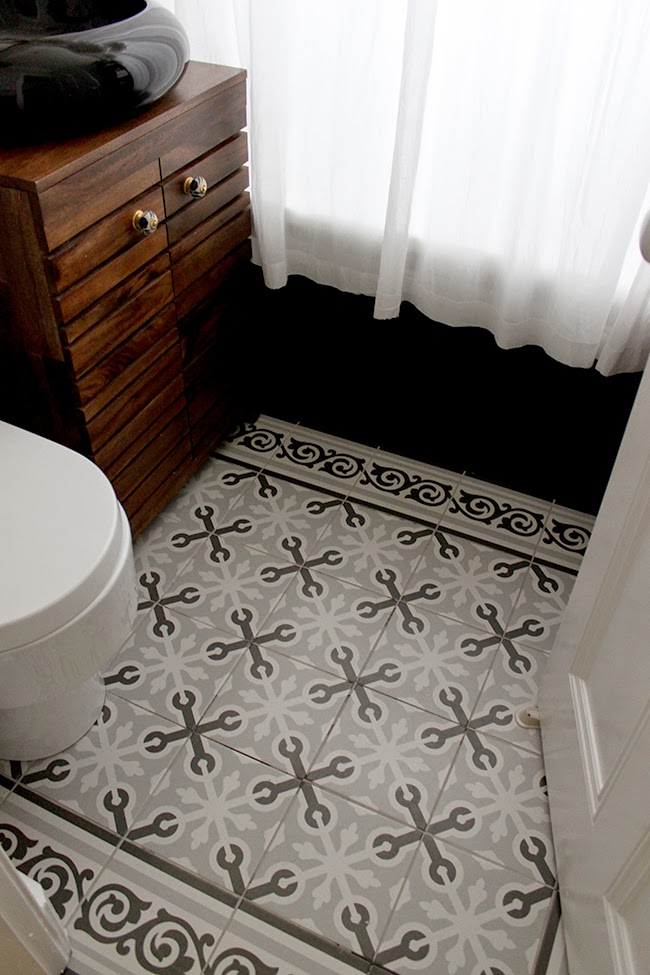 The mosaic patterned tiles we chose for our bathroom remodel