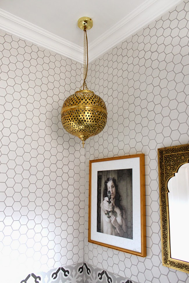 A closer look at some of the decorative details in our eclectic boho glam bathroom remodel