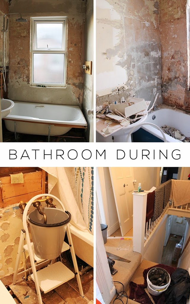 During the bathroom remodel process