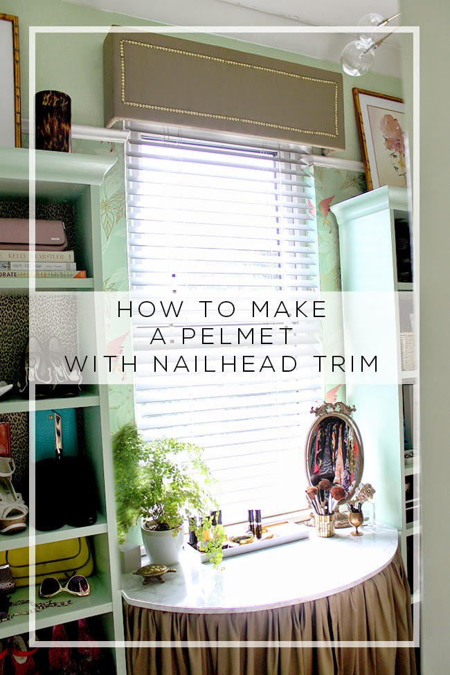 Looking to hide those ugly curtain or blind fittings? Find out how to make a pelmet with nailhead trim by following my simple tutorial!