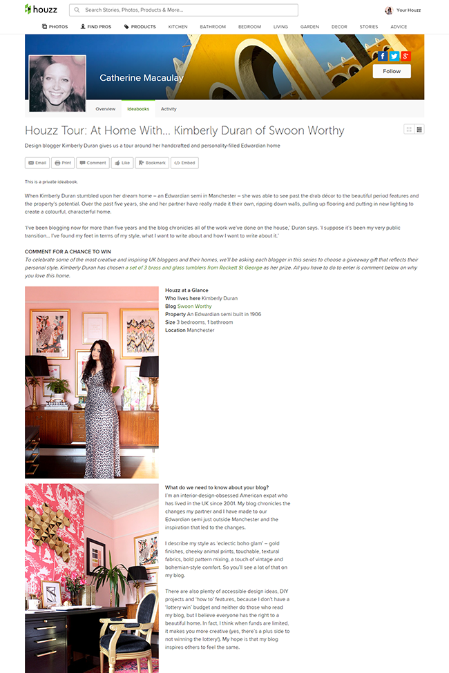 Houzz Tour  At Home With... Kimberly Duran of Swoon Worthy