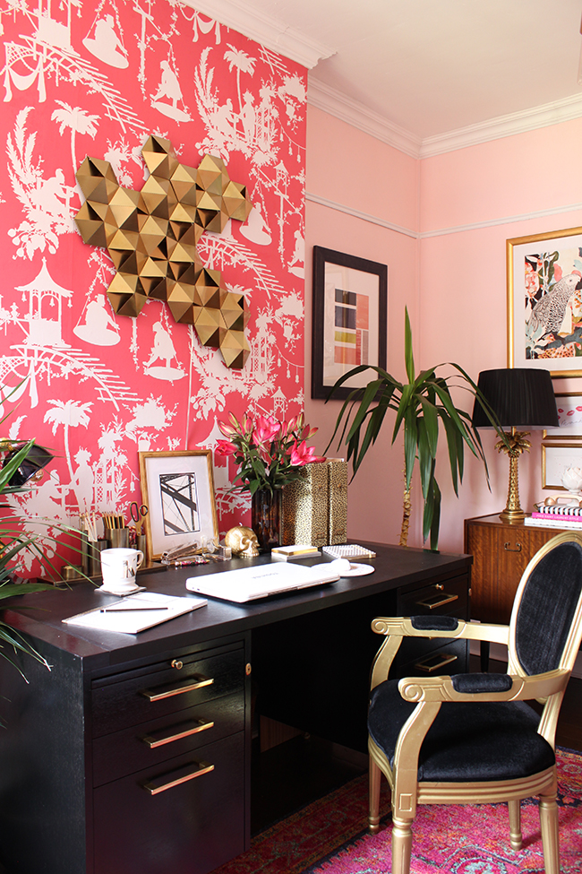 painted laminate desk - pink and black home office