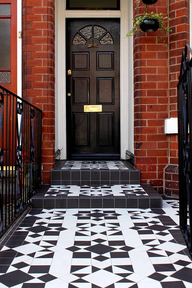 Edwardian house with victorian black and white style tiles