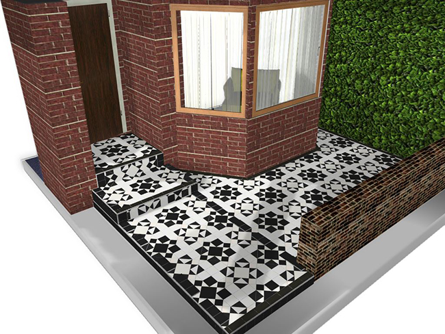 KH garden - Eltham pattern in Black & Dover White FINAL