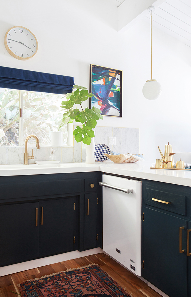 Emily Henderson blue and white kitchen