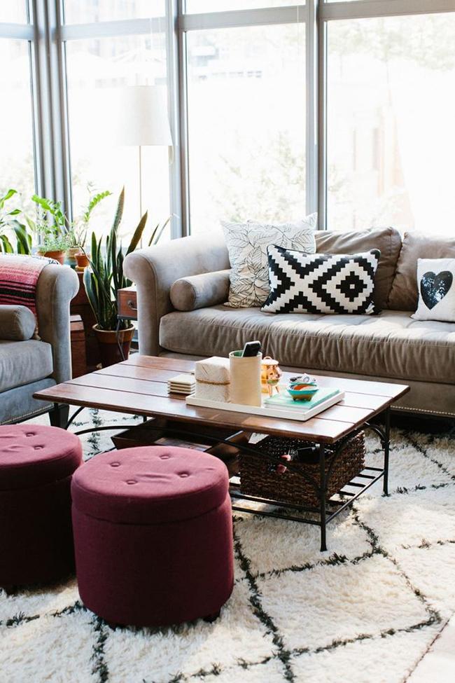 living room pouf marsala