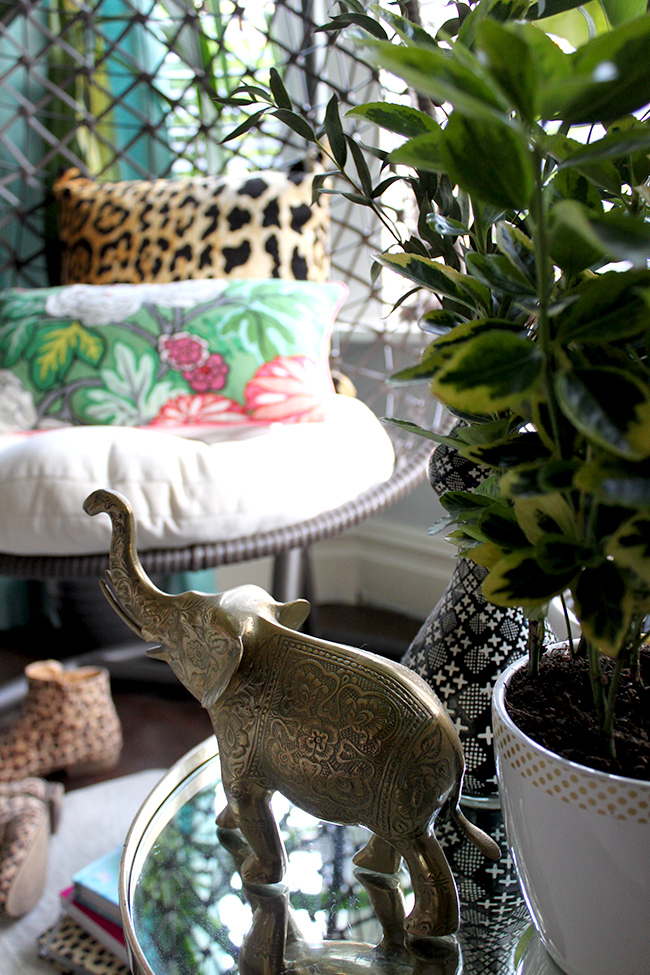 Jungle Trend - brass elephant, chaing mai dragon cushion, leopard print, hanging chair