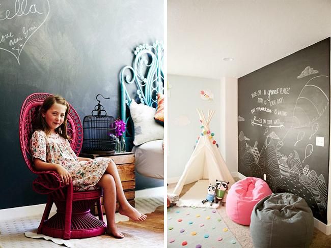 Blackboard wall in kids room