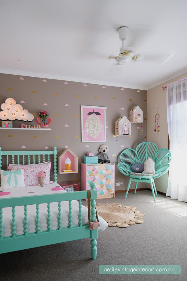 mushroom turquoise and pink girls room