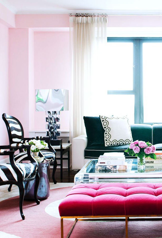 pink and emerald green living room