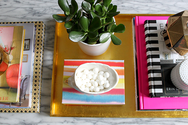 colourful coffee table vignette