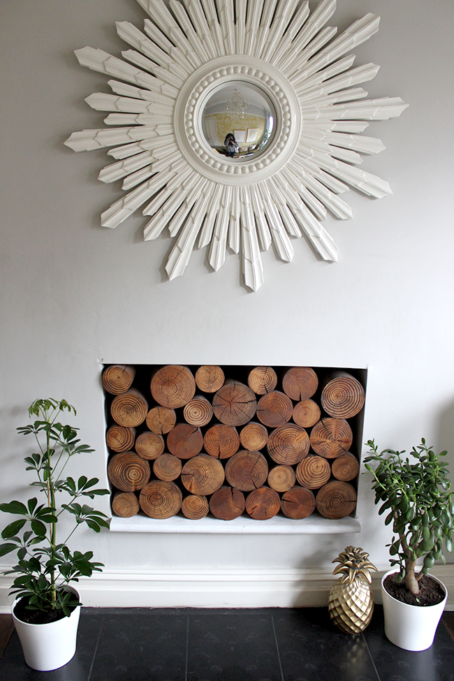 fireplace with decorative logs and plants