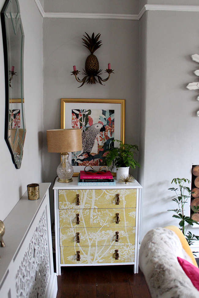 wallpapered chest of drawers