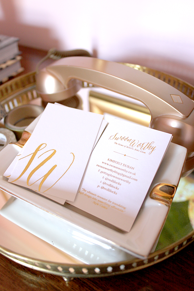 Becky Lord Design - Swoon Worthy business cards gold leaf
