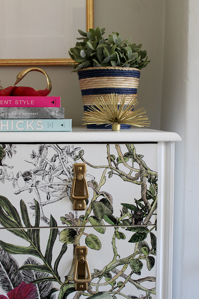 Want to find out how to create these DIY wallpapered chest of drawers? Check out how to update boring pine furniture!