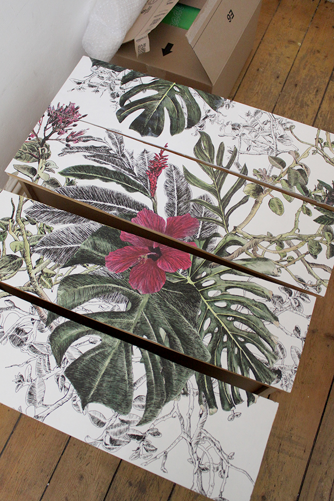 wallpapering all drawer fronts