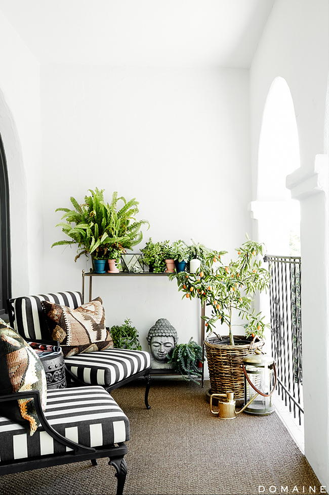 SW black and white striped chairs and patio