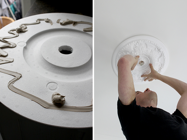 Attaching the ceiling rose
