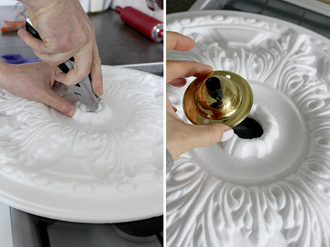 Cutting the ceiling rose