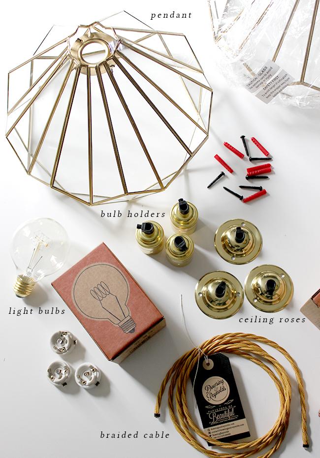 DIY Brass and Glass Pendant Light materials