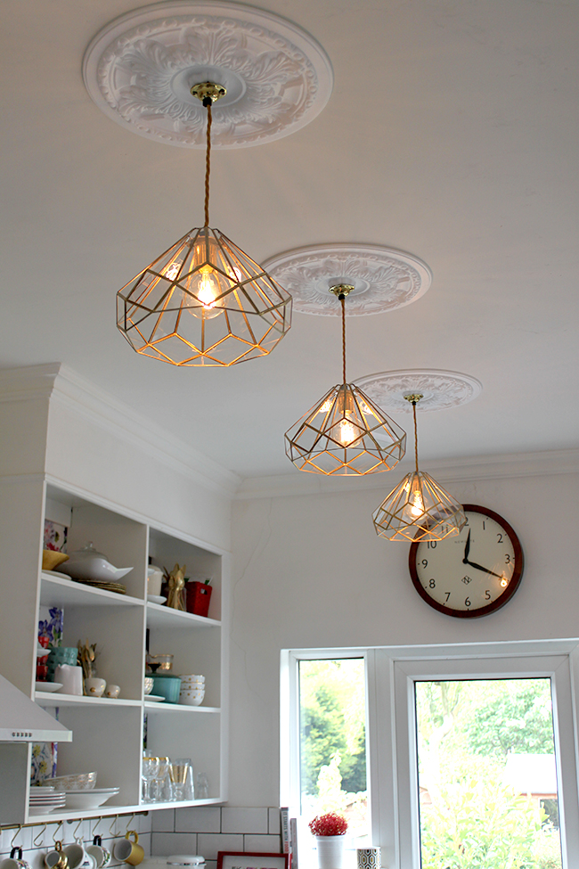 DIY Brass and Glass Kitchen Pendants - Swoon Worthy