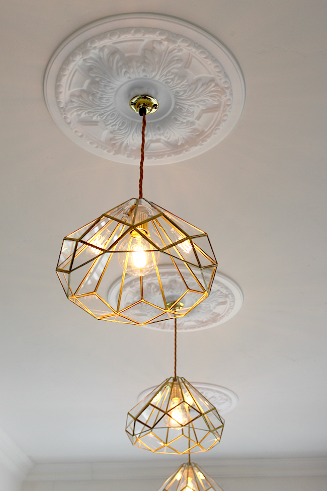 My new diy brass and glass kitchen pendants swoon worthy for Brass kitchen light fixtures