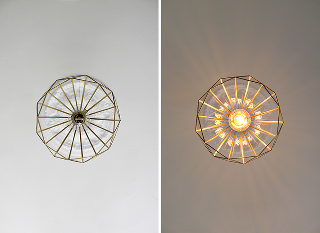 DIY Glass and Brass Pendants from below - Swoon Worthy