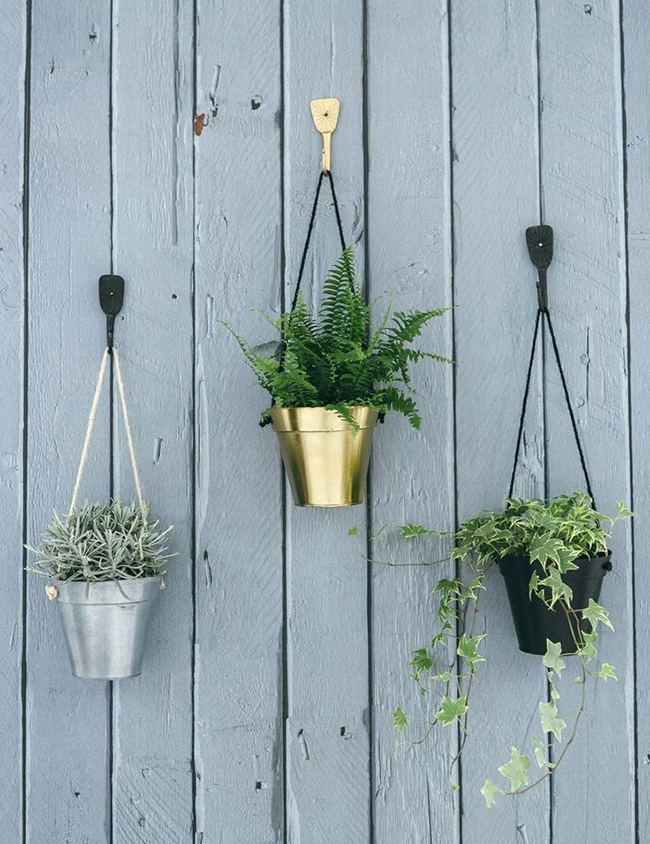 rose and grey hanging pots