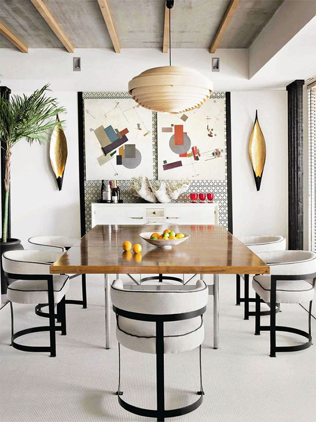 black and white eclectic dining room