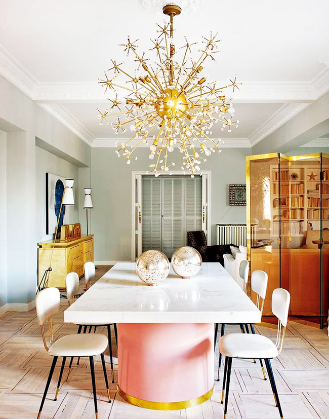 pink white and gold dining room