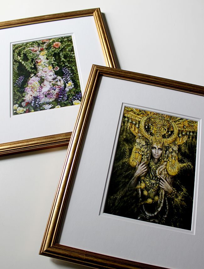 After going to Kirsty Mitchell's  exhibition I picked up some postcards to frame as art