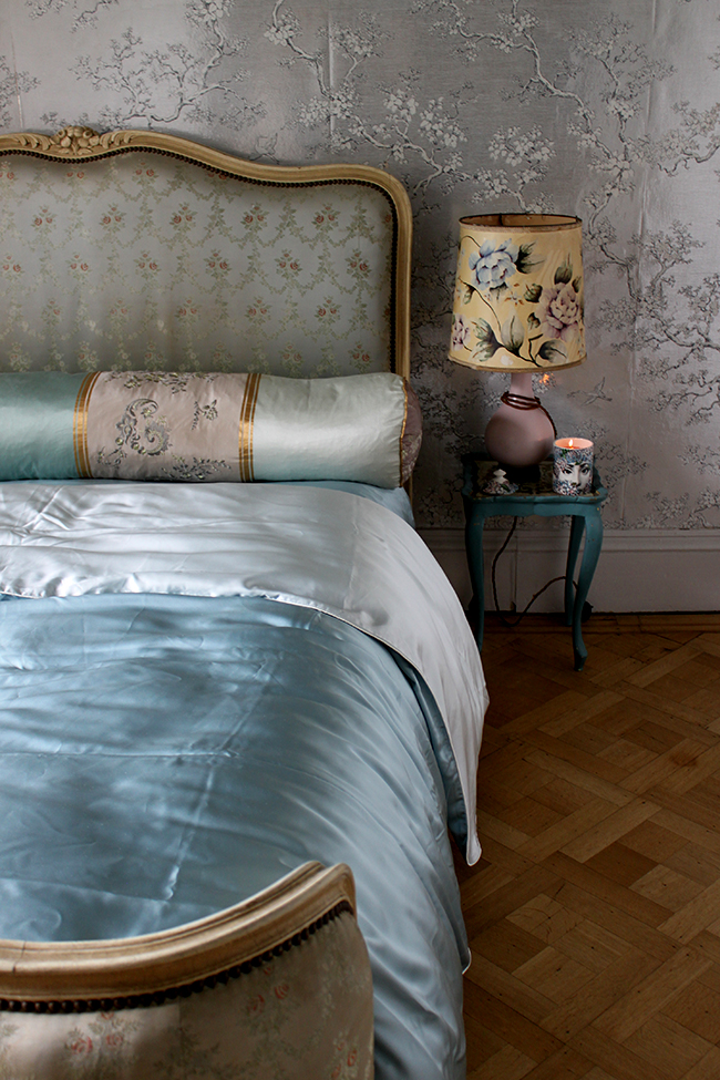 Silver metallic wallpaper - bedroom with parquet flooring - Swoon Worthy - LivingEtc House Tour