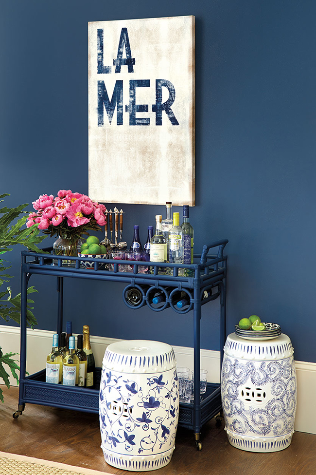 deep blue walls and barcart