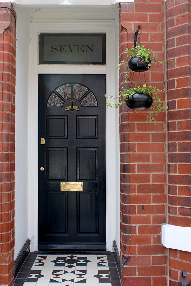 Edwardian front door in Farrow and Ball Hague Blue with Victorian Floor Tiles and hanging planter - Swoon Worthy