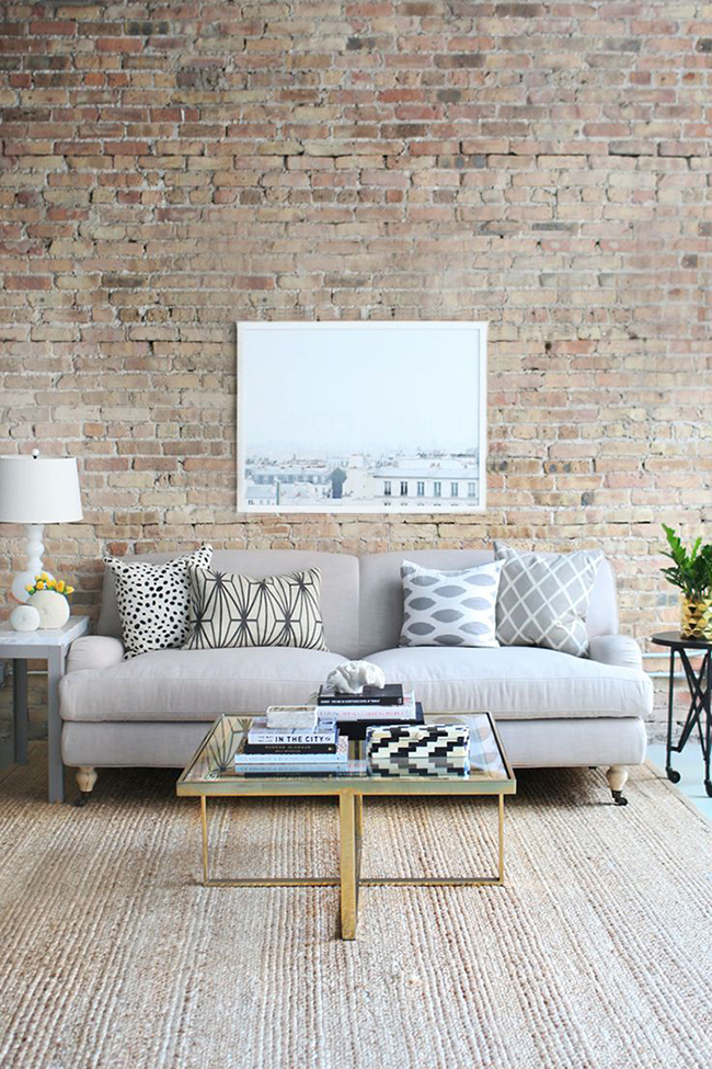 sw exposed brick wall living room
