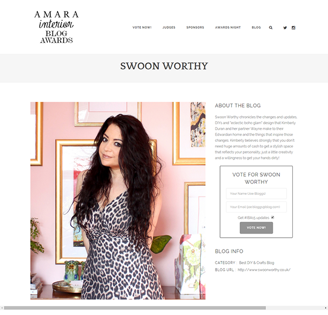 Vote for Swoon Worthy in the  IBA15