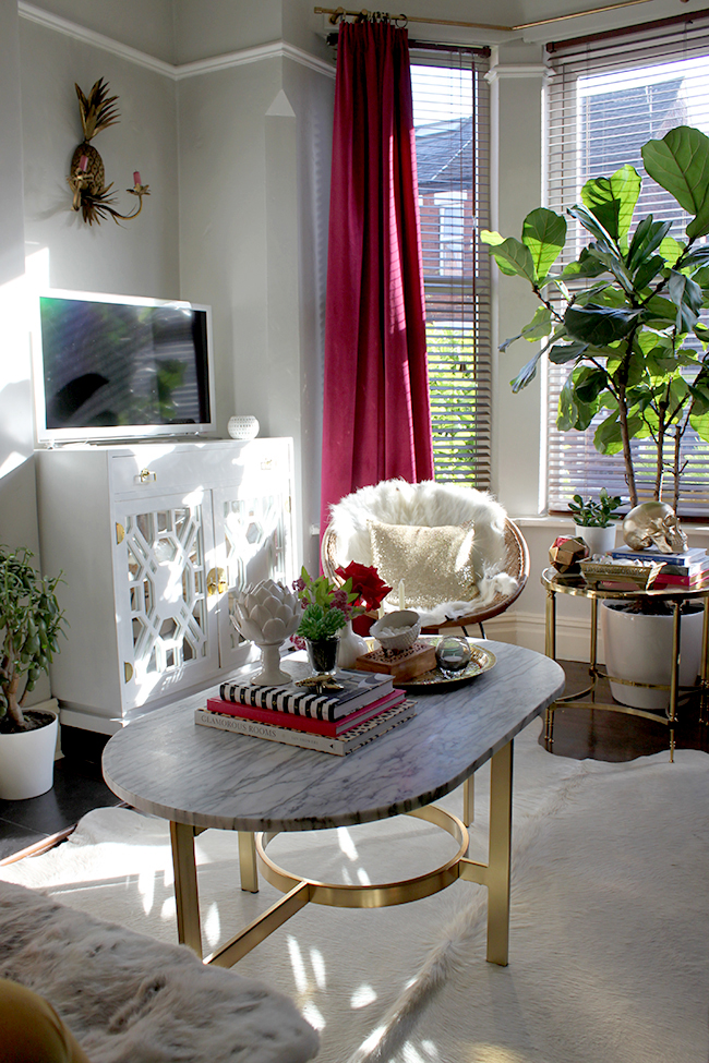 Swoon Worthy - living room with marble and gold coffee table