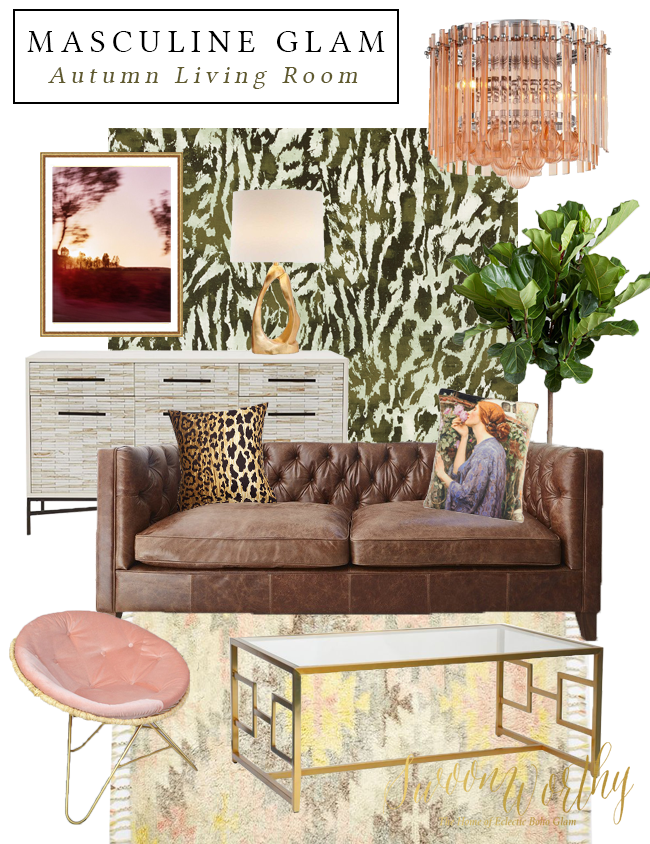 Moodboard: Masculine Glam Autumn Living Room   Swoon Worthy