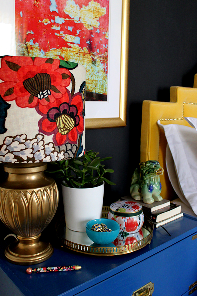 Does your bedroom follow a Boho Brights theme? Find out how to style a bedside table to match!